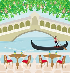 cafe in Venice gondola in the background vector image