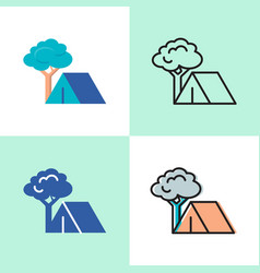 camping concept icon set in flat and line style vector image