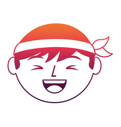 Cartoon face laughing chinese man vector