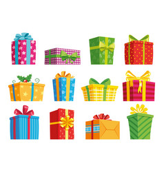 cartoon gift box christmas presents gifting vector image
