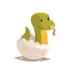 Cartoon green snake baby in broken egg shell vector
