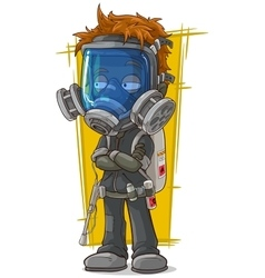 Cartoon redhead boy in gas mask vector image