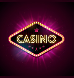 Casino with shiny lighting display vector