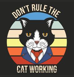 cat working retro vector image