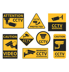 Cctv stickers various security camera equipment vector