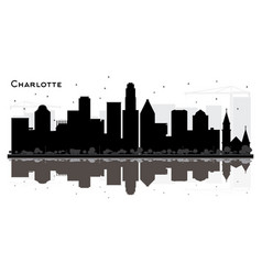 Charlotte city skyline black and white silhouette vector
