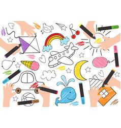 Children draw on paper vector