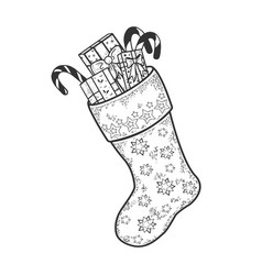 christmas boot with gifts sketch engraving vector image