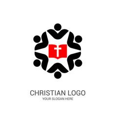 church logo and biblical symbols vector image