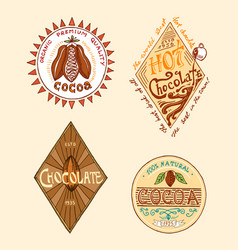 Cocoa and hot chocolate logos modern vintage vector
