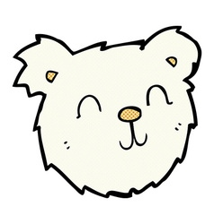 Comic cartoon happy polar bear face vector