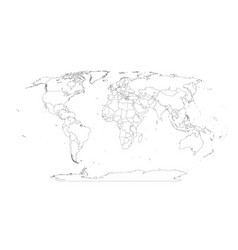 contour world map all countries and islands vector image