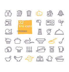 cooking and kitchen icon set flat design thin vector image