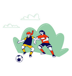 Couple little girls in sports uniform vector