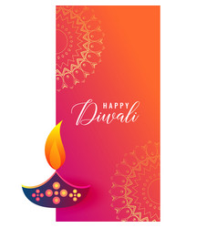 Creative diwali diya design on mandala background vector