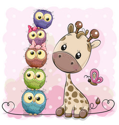 Cute cartoon giraffe and owls vector