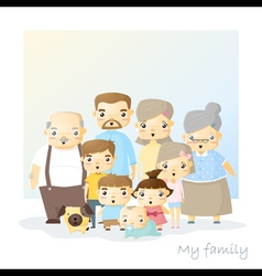 Cute family portrait Big family background vector image
