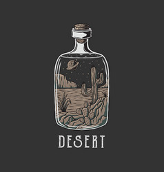 desert in bottle with hand drawn style vector image