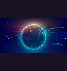 digital global connection network technology vector image