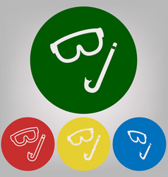diving mask sign 4 white styles of icon vector image