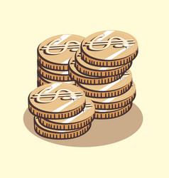 dollar coins money retro style vector image