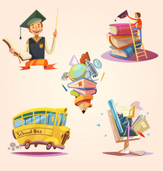 Education cartoon retro set vector