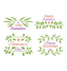 elegant floral decorative elements set with summer vector image