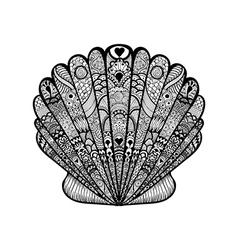 entangle stylized black sea shell hand drawn vector image