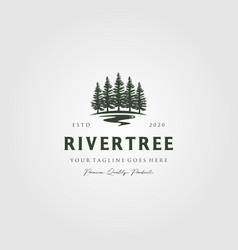 evergreen pine tree logo vintage with river creek vector image