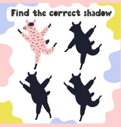 find correct shadow game with funny llama vector image