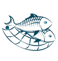 Fish in the network silhouette vector