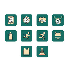 Flat color running icon set vector