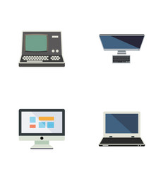 Flat icon laptop set of display pc technology vector