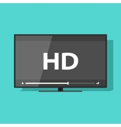 Flat screen tv with HD video label icon vector image