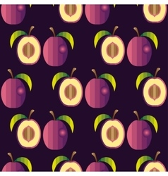Fresh fruits Plum pattern vector