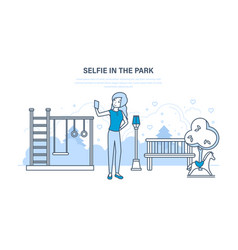 girl doing a variety of fun selfie in the park vector image