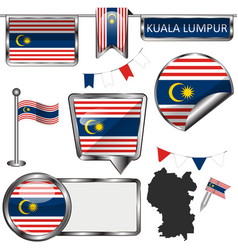 Glossy icons with flag kuala lumpur vector