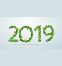 green grass 2019 new year calendar cover vector image