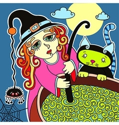 halloween cute witch with black cat prepares potio vector image