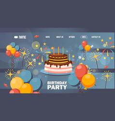 happy birthday website page design vector image