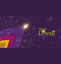 Happy diwali festival flower petal candle banner vector