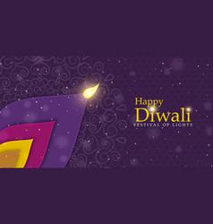 happy diwali festival flower petal candle banner vector image
