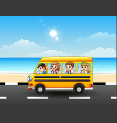 Happy school kids riding a school bus on the seasi vector