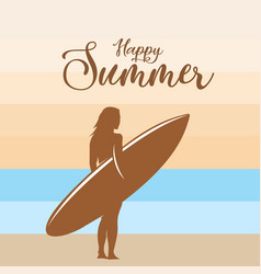 happy summer surfing background vector image
