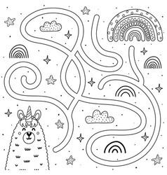 help llamacorn get to rainbow black and vector image