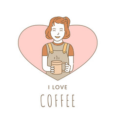 I love coffee banner design template ggirl vector