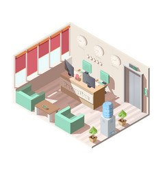 Isometric hotel reception hall interior office vector