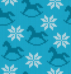 Knitted background with image of snowflakes and vector