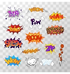Large set of bright multi colored comic sound vector