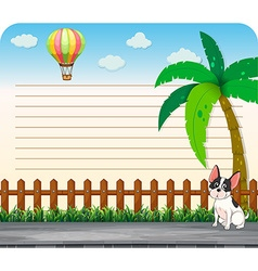 Line paper design with dog on the road vector image